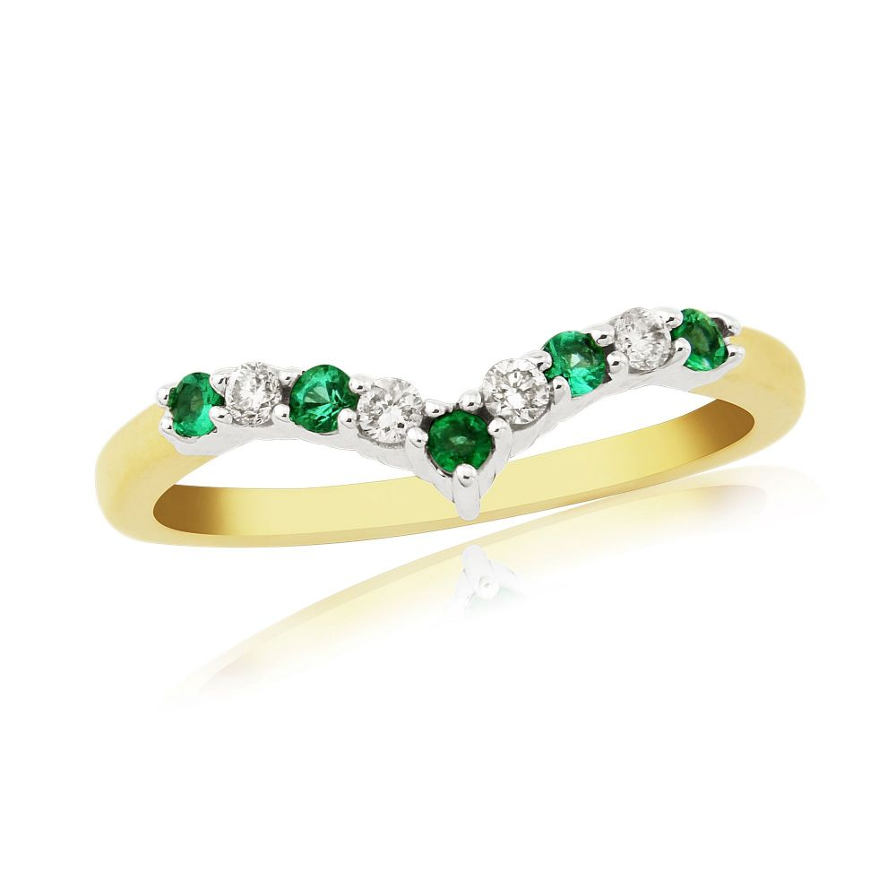 Yellow Gold Emerald And Diamond Wishbone Ring